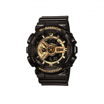 Casio Baby-G BA-110-1A Black Resin with Gold Face Digital Analog Watch
