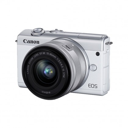 Canon EOS M200 Mirrorless Digital Camera with 15-45mm Lens (Black/White)