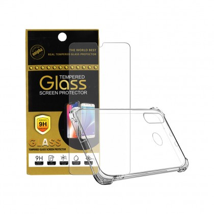 Huawei Nova 4e Tempered Glass Screen Protector + Soft Clear Case