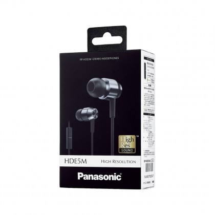 Panasonic RP-HDE5M High-Resolution Sound In-Ear Headphones (Silver)