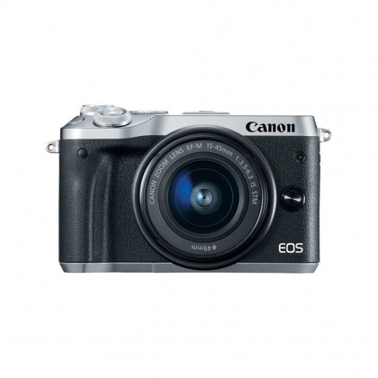 Canon EOS M6 Mirrorless Digital Camera (Black/Silver) with 15-45mm Lens + 16GB + Bag