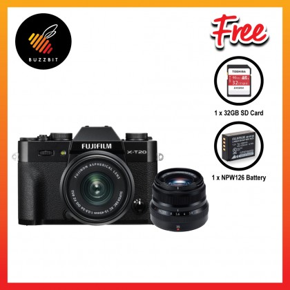 Fujifilm X-T20 XT20 15-45mm Mirrorless Camera + 35mm F2 + 32GB + Battery