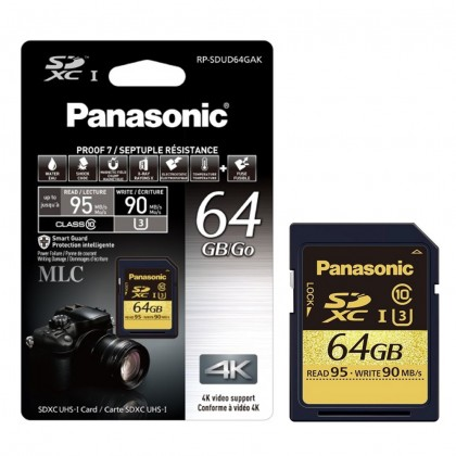 Panasonic 64GB Gold Series SD Card for 4K Video Enabled Cameras (RP-SDUD64GAK)